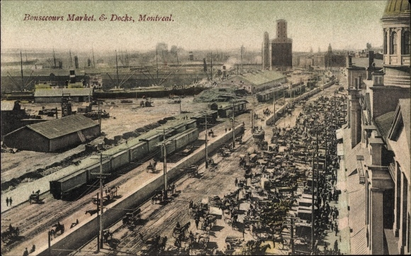 Ak Montreal Québec Kanada, Bonsecours Market and Docks, Hafenanlagen, Güterzüge