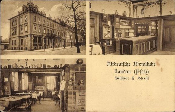 Ak Landau in der Pfalz, Altdeutsche Weinstube, Bes. Emil Strehl, Innenansicht