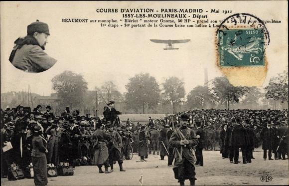 Ak Issy les Moulineaux, Course d'Aviation Paris Madrid 1911, Beaumont sur monoplan Blériot