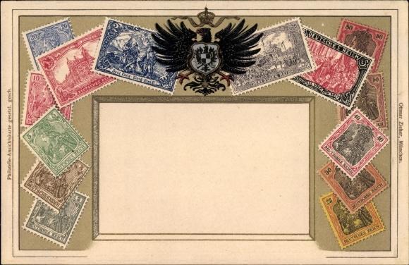Präge Briefmarken Litho Deutsches Reich, Ein Reich, Ein Volk, Ein Gott, Wappen