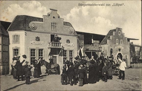 Ak Bürgermeisterwahl aus Liliput, Direction L. v. Singer, Rathaus, Feuerwehr, Kleinwüchsige