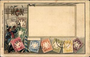 Präge Briefmarken Ak Königreich Bayern, Briefträger mit Posthorn
