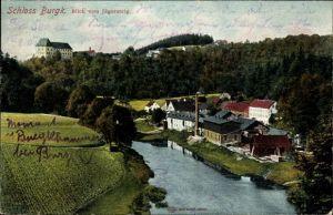 Ak Burgk in Thüringen, Blick vom Jägersteig, Flusspartie mit Teilansicht der Ortschaft