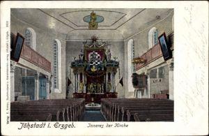 Ak Jöhstadt im Erzgebirge Sachsen, Blick in das Innere der Kirche
