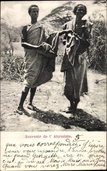 Ak Abessinien, Zwei junge Afrikaner in Gewändern