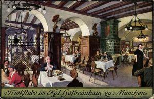 Künstler Ak Quidenus, München Oberbayern, Trinkstube im Kgl. Hofbräuhaus, Johann Panzer