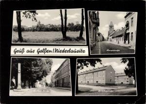 Passepartout Ak Golßen Niederlausitz Brandenburg, Hauptstraße, Berliner Straße, Bahnhostraße