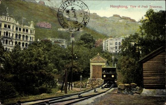Ak Hongkong China, View of peak tramway, Standseilbahn