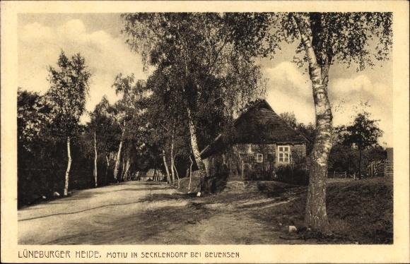 Ak Secklendorf Bevensen in der Lüneburger Heide, Straßenpartie mit Blick auf Wohnhaus