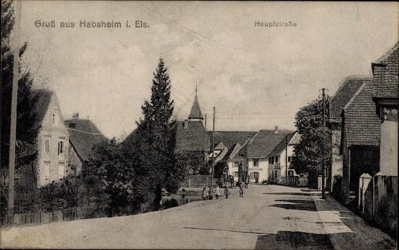Ak Habsheim Elsass Haut Rhin, Blick in die Hauptstraße
