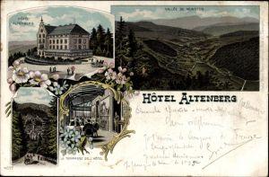 Litho Neubois Gereuth Elsass Bas Rhin, Hotel Altenberg, Vallee de Munster, Panorama vom Ort