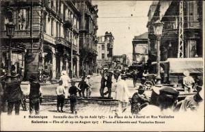 Ak Thessaloniki Griechenland, Incendie des 18-20 Aout 1917, La Place de la Liberté e Rue Venizelos
