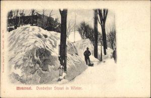 Ak Montreal Québec Kanada, Dorchester Street im Winter, Hochschnee