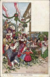 Künstler Ak Kauffmann, P., Usages & Costumes d'Alsace, Elsässer Trachten, La fete patronale