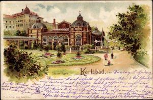 Litho Karlovy Vary Karlsbad Stadt, Kuranlagen im Stadtpark