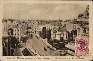 Ak București Bukarest Rumänien, Vederea generala si Calea Victoriei, Gesamtansicht, Victoriastraße