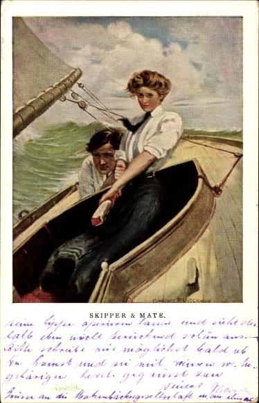 Künstler Ak Underwood, Clarence, Skipper and Mate, Liebespaar in einem Segelboot