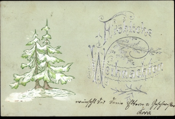 Präge Ak Frohe Weihnachten, Tannenbaum im Winter, Schnee