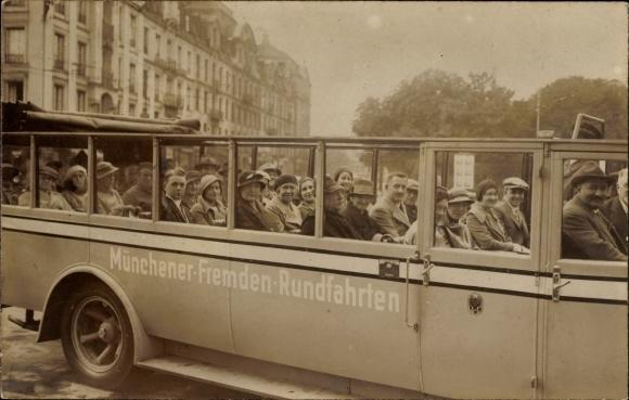 Foto Ak München Bayern, Münchener Fremden Rundfahrten, Omnibus mit offenem Verdeck
