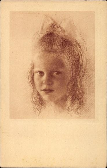 Künstler Ak Schachinger, Walter, Nr. 200, Kinderportrait, Mädchen mit Haarschleife
