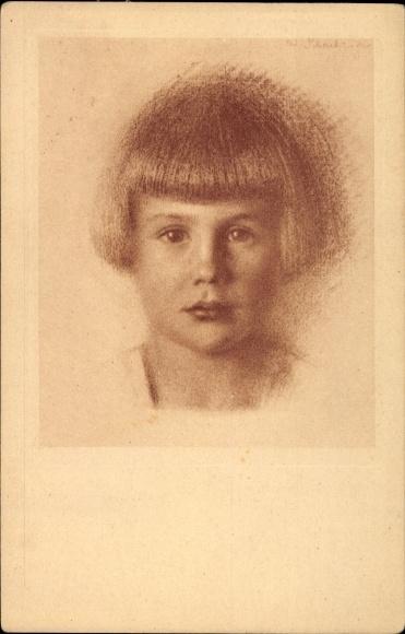 Künstler Ak Schachinger, Walter, Nr. 207, Kinderportrait, Kurzhaarfrisur