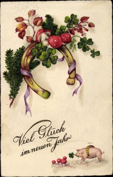 Glückwunsch Neujahr, Schwein, Hufeisen, Fliegenpilze, Kleeblätter