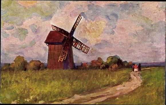 Künstler Ak Janowska, B. R., Wiosna, Landschaft mit einer Windmühle