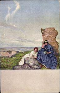Künstler Ak Liebermann, Ernst, Auf Bergeshöhe, zwei Frauen vor einer Ruine