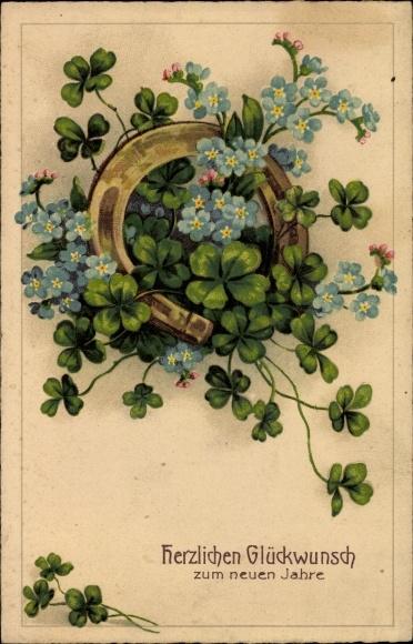Litho Glückwunsch Neujahr, Hufeisen mit Kleeblättern und Vergissmeinnichtblüten