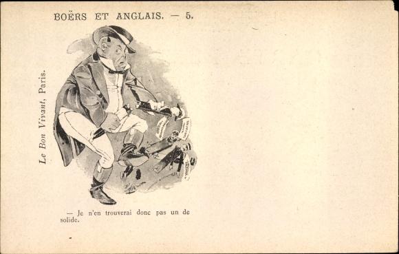 Künstler Ak Boers et anglais, Burenkrieg, Engländer durchbricht Offiziere, Karikatur