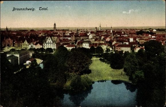 Ak Braunschweig in Niedersachsen, Totale der Stadt, See