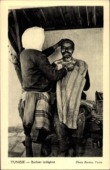 Ak Tunesien, Barbier indigène, Tunesischer Barbier bei der Rasur