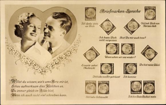 Briefmarken Ak Briefmarkensprache, Liebespaar, Ich hab Dich von Herzen lieb, Ich komme, BNK 36605 1