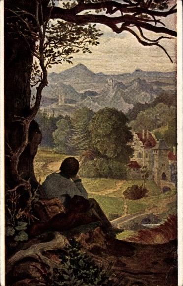 Künstler Ak Schwind, Moritz von, Auf der Wanderschaft, Ackermann 213 2172b