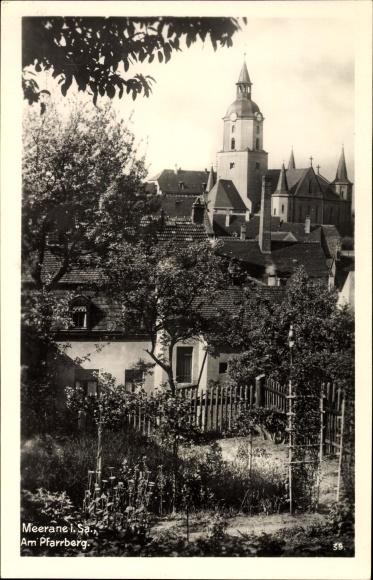 Ak Meerane in Sachsen, Partie am Pfarrberg, Teilansicht von Ortschaft