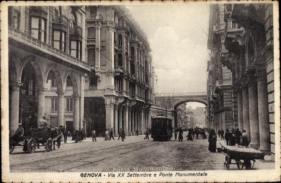 Ak Genova Genua Ligurien, Via XX Settembre e Ponte Monumentale, Straßenbahn