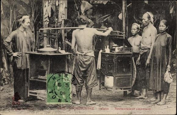 Ak Saigon Cochinchine Vietnam, Restaurateur ambulant