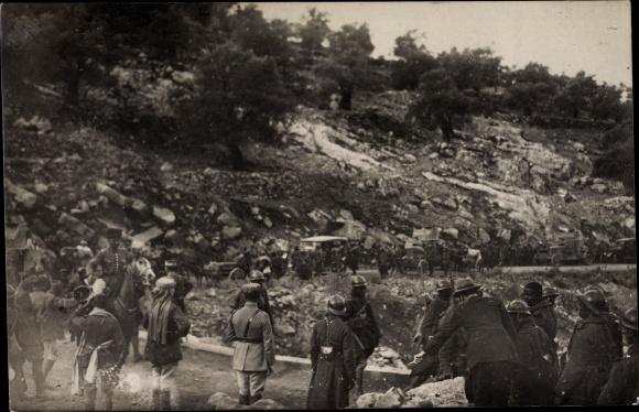 Foto Ak Rachaya Libanon, Militärkonvoi, Französische Soldaten, Syrische Revolution 1925
