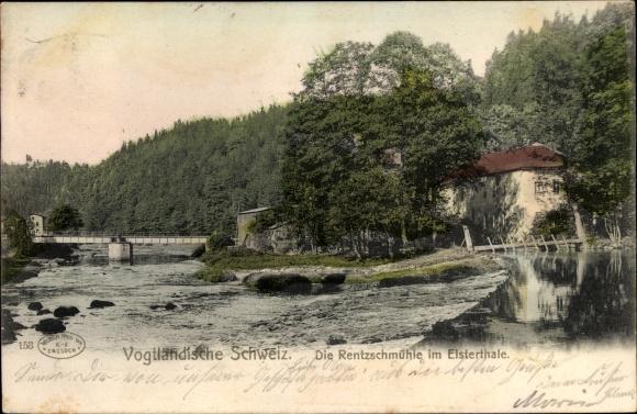 Ak Rentzschmühle Pöhl im Vogtland, Die Rentzschmühle im Elstertale, Brücke, Wald