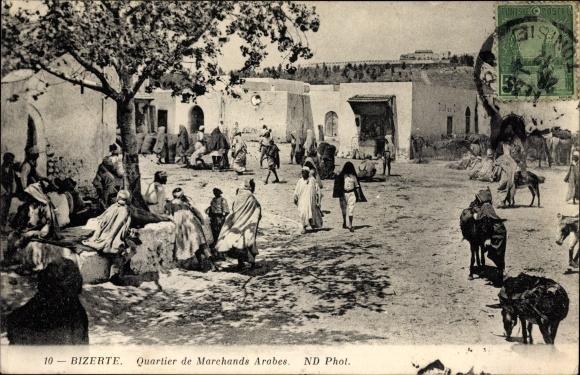 Ak Bizerte Tunesien, Quartier de Marchands Arabes, Esel, Araber, Maghreb, Neurdein Frères N.D. 10