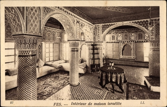 Ak Fès Fez Marokko, Intérieur de maison israélite, Innenansicht ...
