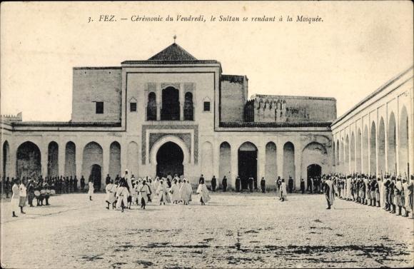 Ak Fès Fez Marokko, Cérémonie du Vendredi, le Sultan se rendant à la Mosquée