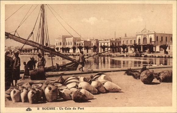 Ak Sousse Tunesien, Un Coin du Port, Hafenpartie, Tongefäße, Segelboot