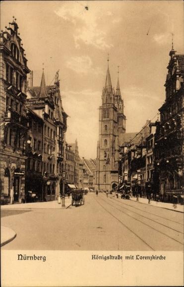 Ak Nürnberg in Mittelfranken Bayern, Königstraße mit Lorenzkirche