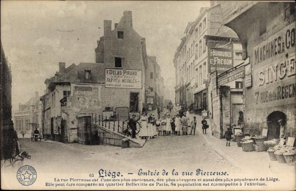 Ak Liège Lüttich Wallonien, Entree de la rue Pierreuse, Reklame Singer Nähmaschinen, Anwohnergruppe