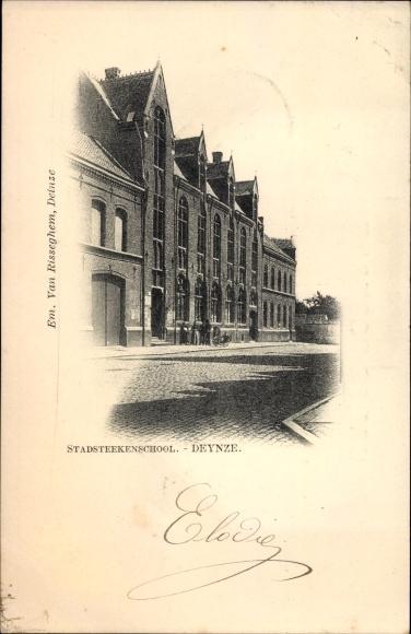 Ak Deynze Deinze Ostflandern, Stadsteekenschool, Schulgebäude