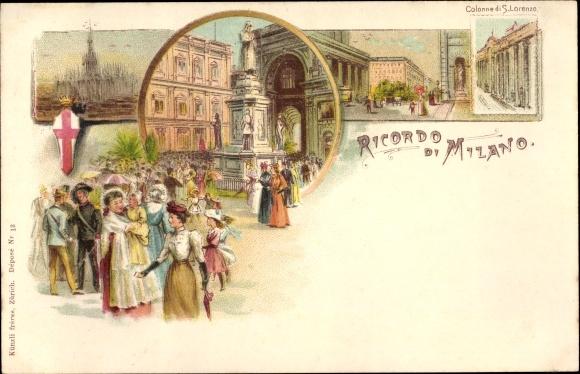 Litho Milano Mailand Lombardia, Colonne di S. Lorenzo, Gebrüder Künzli Nr 13
