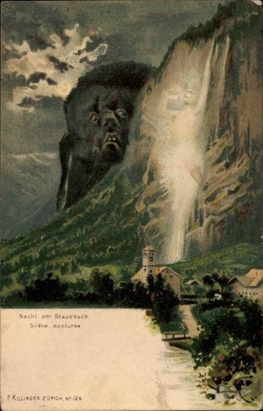Litho Nacht am Staubbach, Scène nocturne, Killinger No 124, Berggesichter