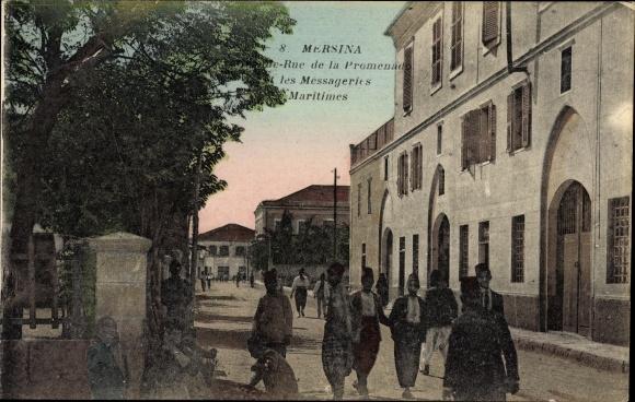 Ak Mersina Griechenland, Rue de la Promenade et les Messageries Maritimes, Straßenpartie