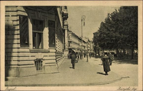 Ak Zagreb Kroatien, Zrinjski trg, Platz, Straßenpartie, Passanten